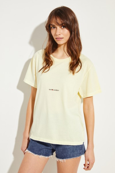 Cotton shirt with logo lettering Yellow