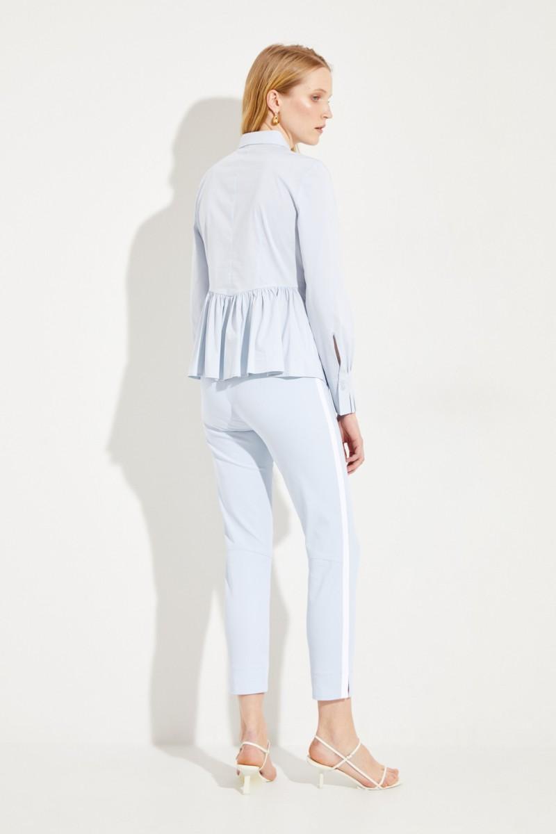 Baumwoll-Bluse mit Schößchen Hellblau