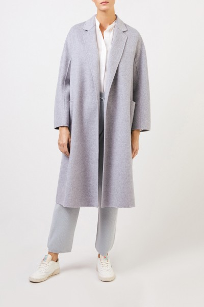 Uzwei Doubleface cashmere coat with belt Light grey