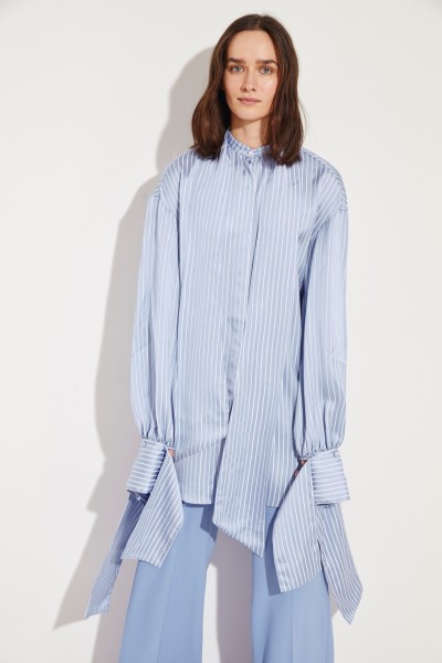 Striped blouse with binding detail Blue/White