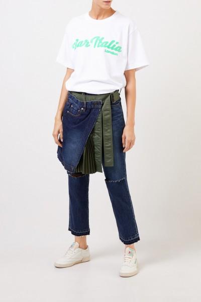 Sacai Jeans mit Rockdetail Blau/Khaki