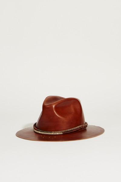 Leder-Hut mit Perlenverzierung Braun