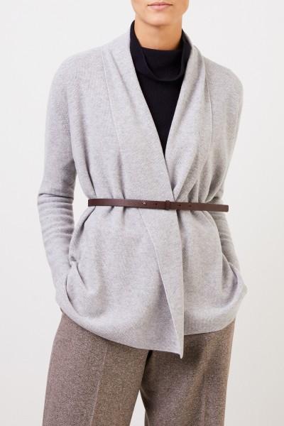 Fabiana Filippi Woll-Seiden-Cardigan mit Gürtel Grau