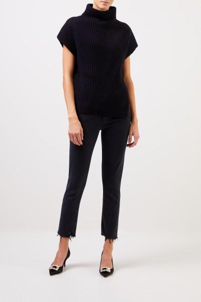 Iris von Arnim Short sleeve cashmere pullover 'Alva' Navy blue