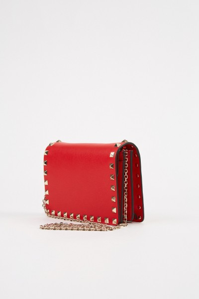 Valentino Leather shoulder bag with rivets Red