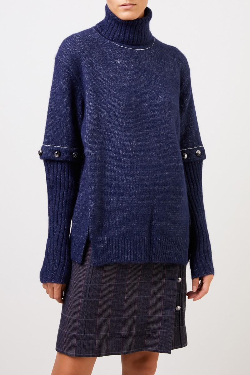 Chloé Alpaka-Seiden-Pullover mit geknöpften Ärmeln Marineblau
