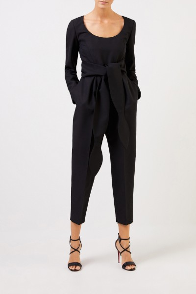 Wool jumpsuit with binding detail Black