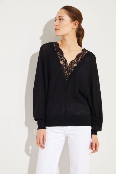 Woll-Seiden-Pullover mit Spitzeneinsatz Ultimate Black