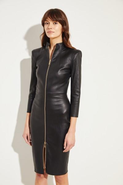 Leder-Kleid 'Chiara' mit Reißverschluss Schwarz