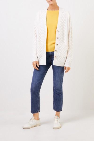 Uzwei Cashmere cardigan with cable stitch White