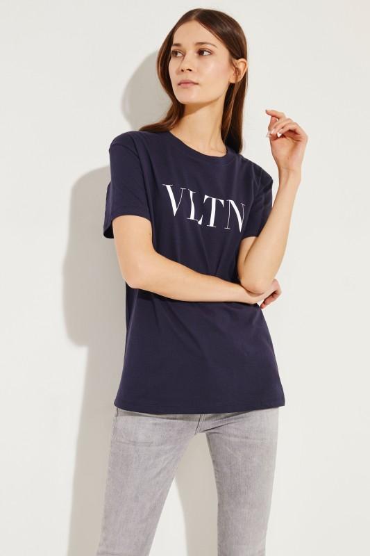T-Shirt mit VLTN-Logo Marineblau