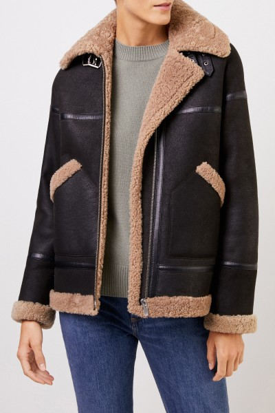 Uzwei Lambskin jacket with flaps Dark Brown