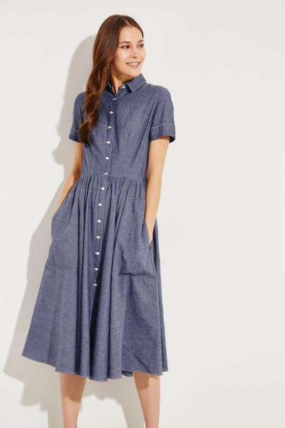 Ausgestelltes Baumwoll-Kleid Blau