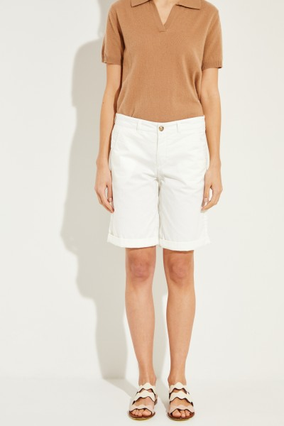 Slim fit bermuda White