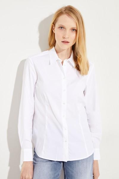 Klassische Bluse mit Ziernähten Weiß