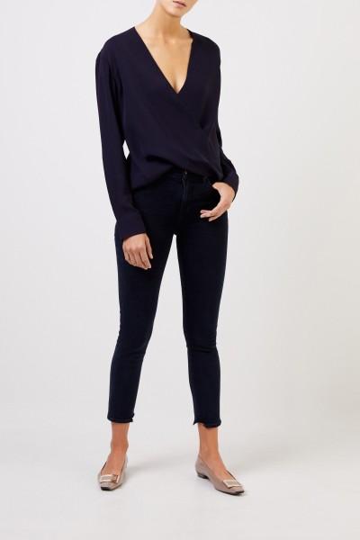 Joseph Silk blouse with wrap element Navy Blue