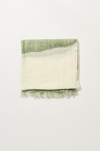Leinen-Schal  Weiß/Grün