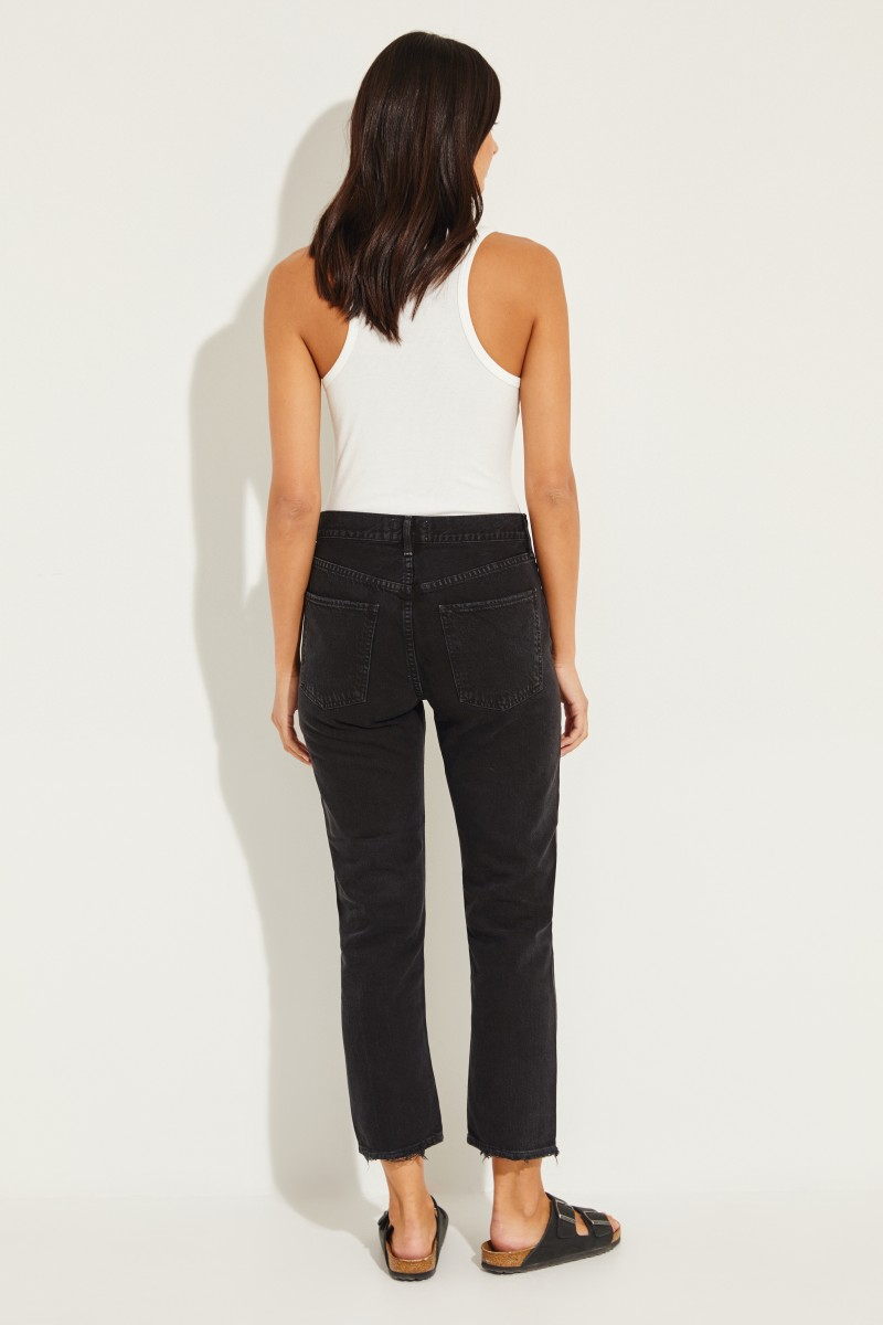 High Rise Jeans 'Cigarette' Schwarz