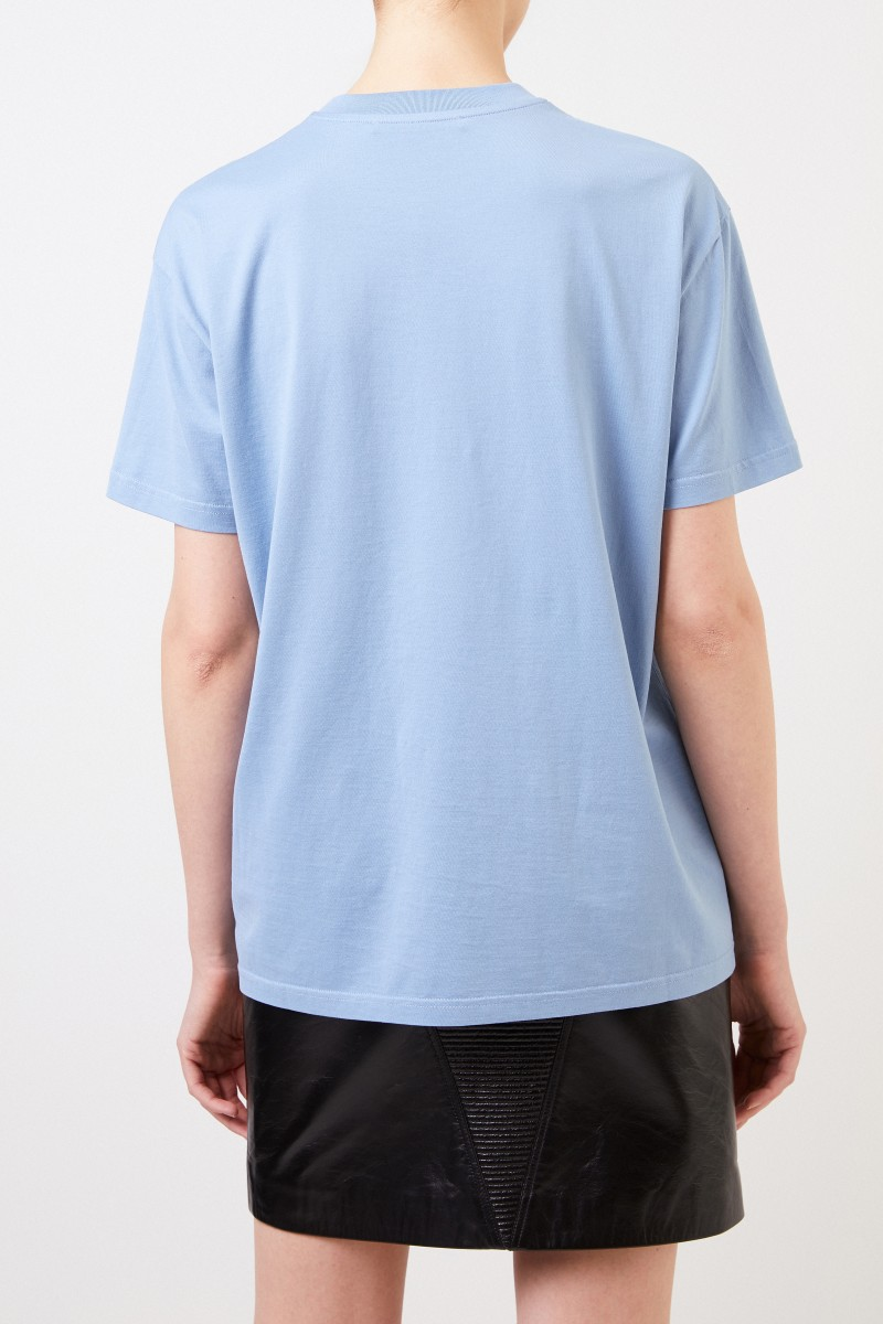 T-Shirt mit frontaler Logostickerei Blau