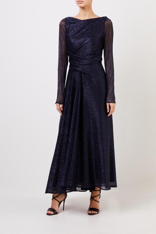Langes Abendkleid mit Lurexdetails Dunkelblau