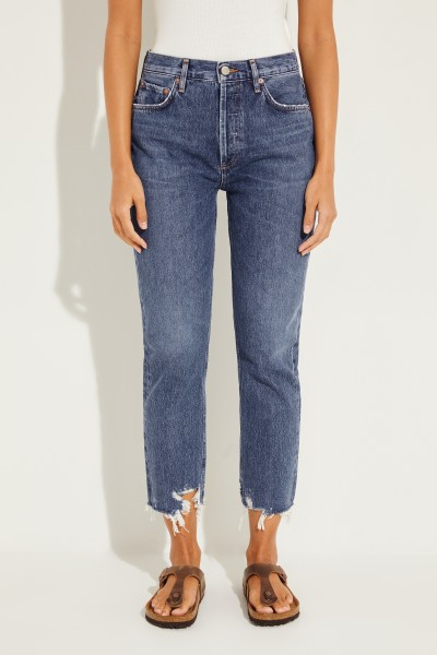 High Rise Jeans 'Riley' im Used-Look Blau