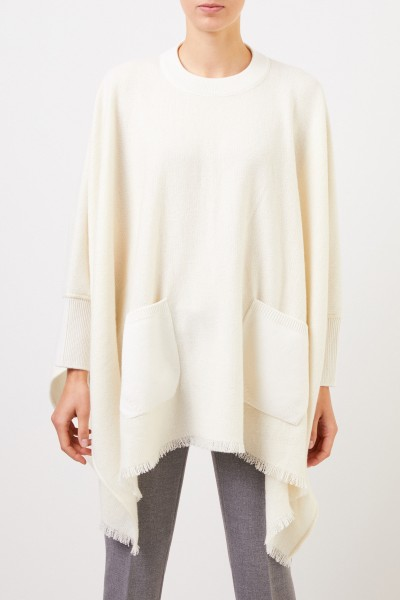 Agnona Cashmere poncho with fringes Cream