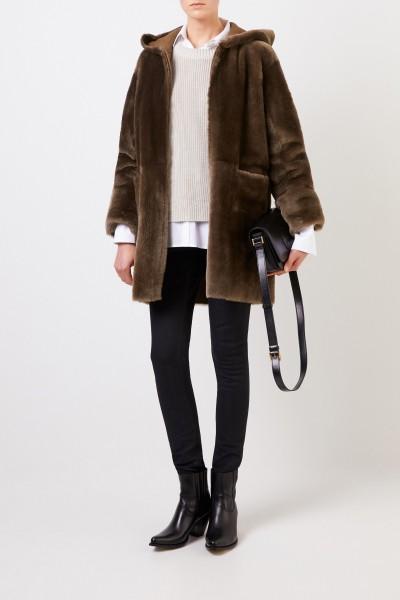 Reversible lambskin coat 'Ruby' with hood Khaki