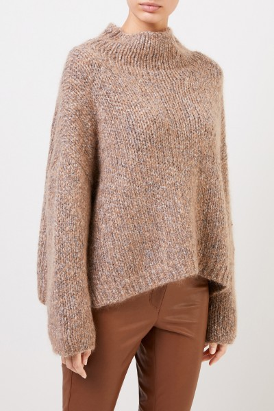 Fabiana Filippi Woll-Pullover mit Paillettendetails Cognac