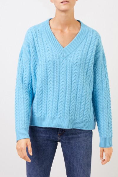 Uzwei V-neck cashmere pullover with cable stitch Light Blue