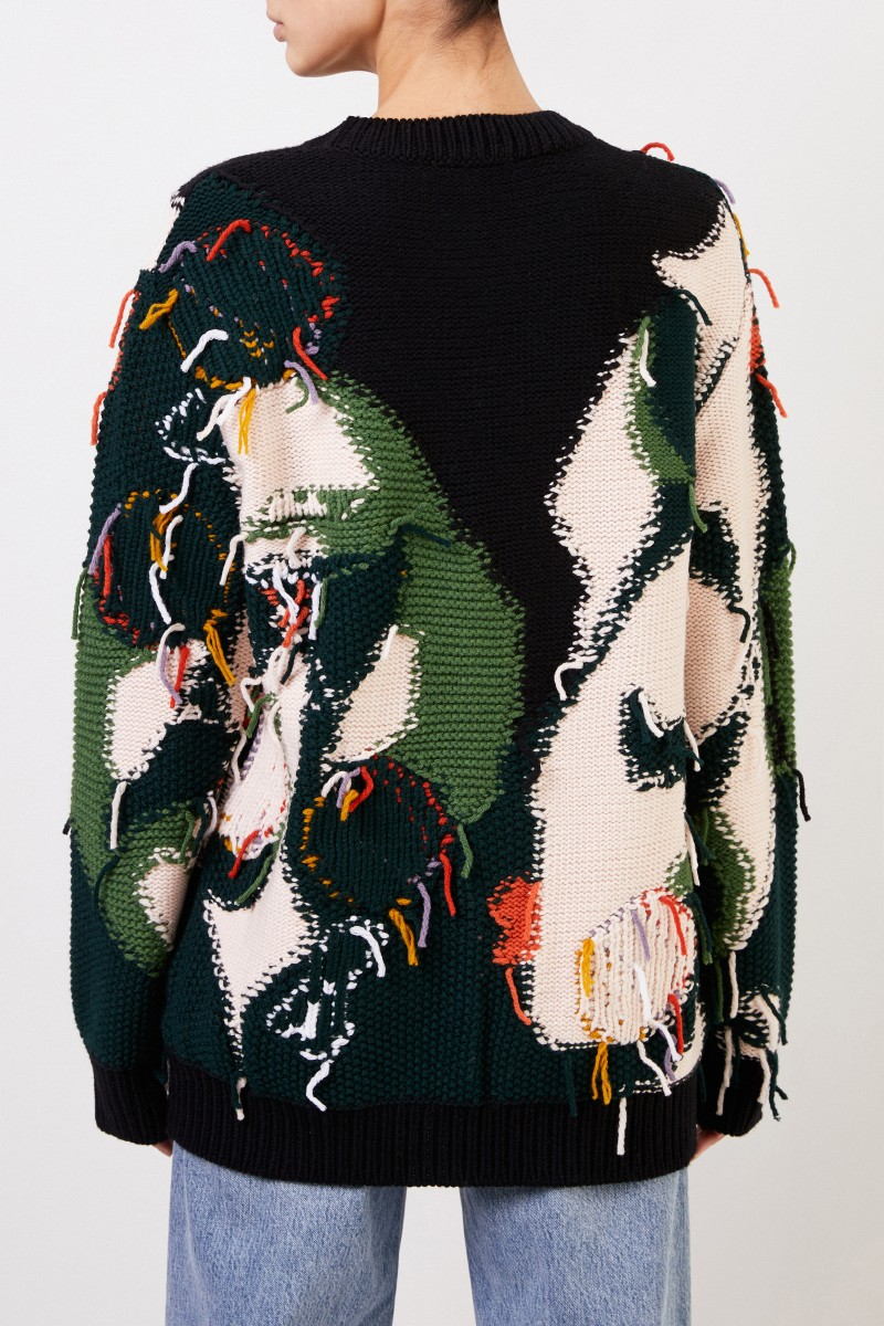 Patterned wool pullover with fringes Multi