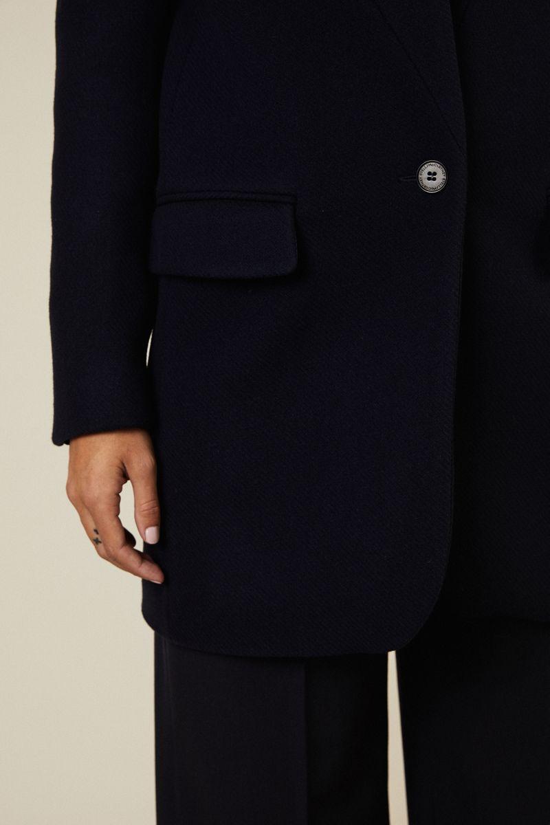 Kurzer Woll-Mantel Blau
