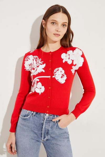 Oscar de la Renta Wool cardigan with sequins Red/White