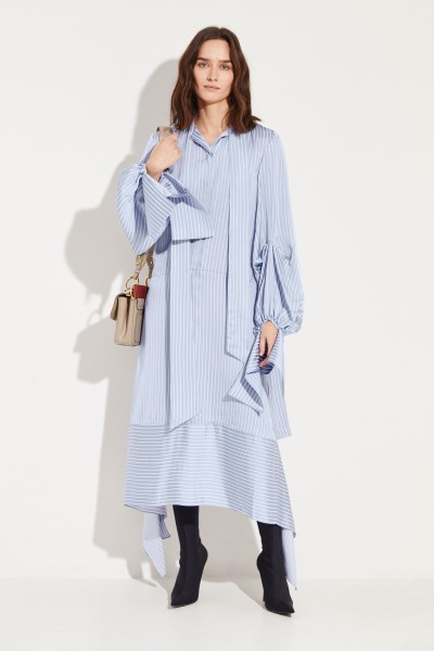 Rokh Striped shirt blouse dress with tie details Blue/White