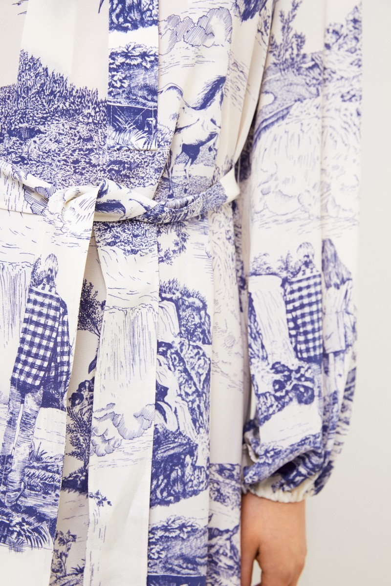 Chloé Seiden-Keid mit Print Weiß/Blau
