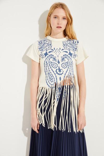 Baumwoll-Seiden-Shirt mit Print Créme/Blau