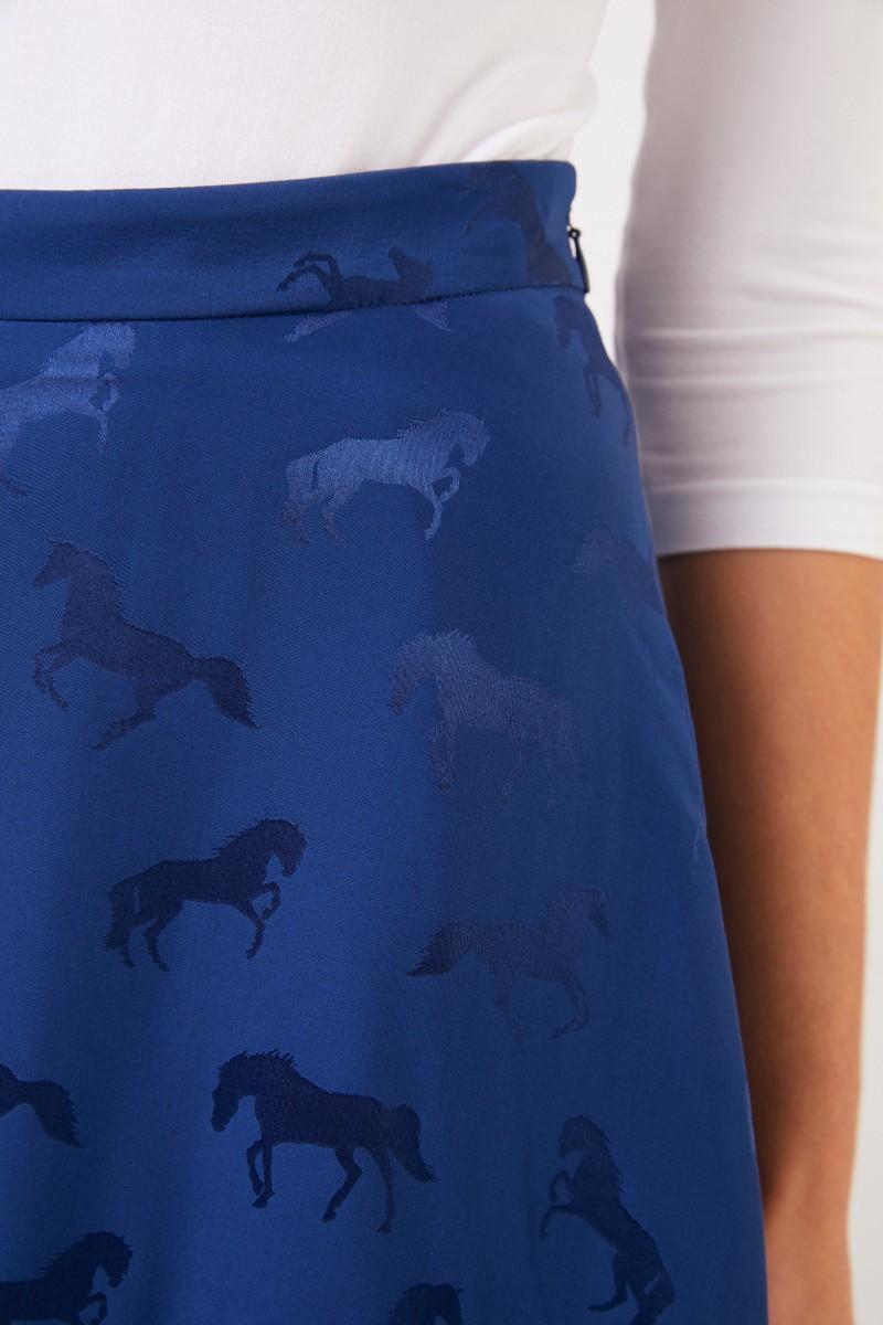 Stella McCartney Seidenrock mit Pferdeprint Blue Note