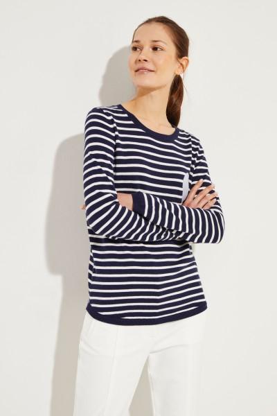 Gestreifter Pullover mit Herz-Emblem Blau/Weiß