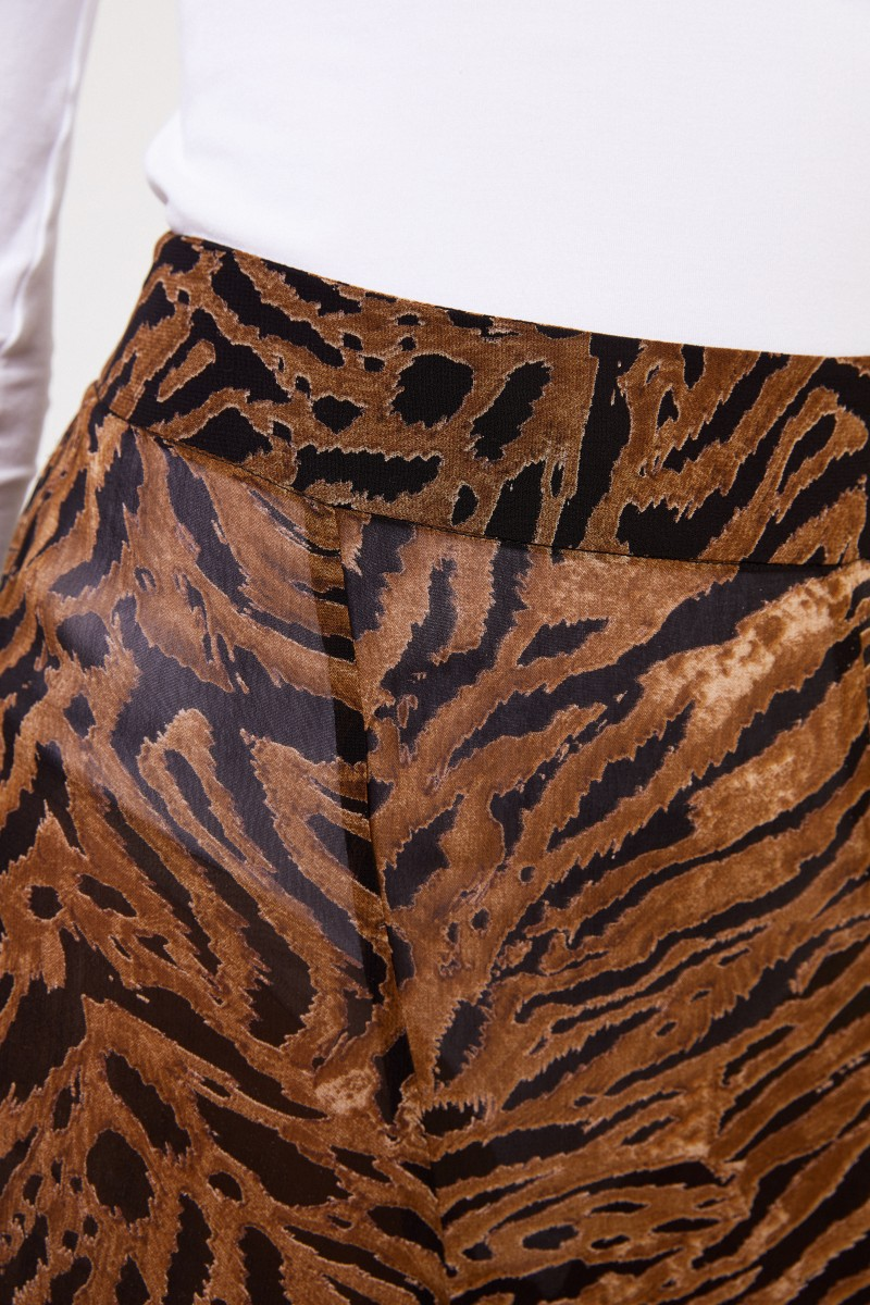 Ganni Langer Rock mit Tigerprint Braun/Schwarz