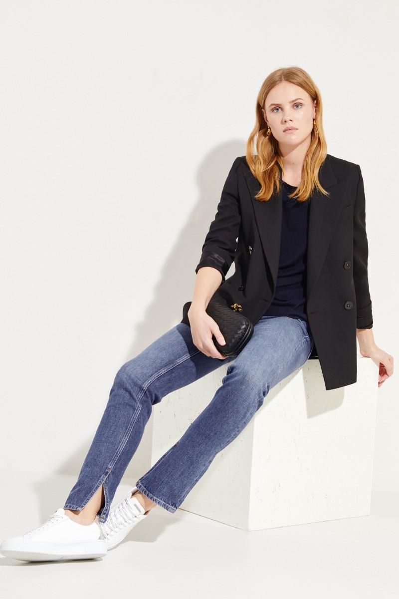 Kurzarm Seiden-Cashmere-Pullover Marineblau