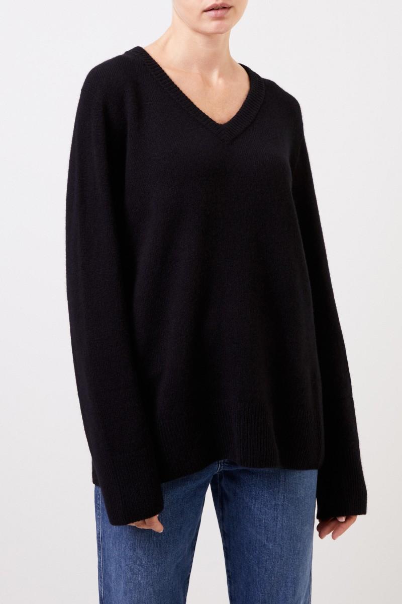 Woll-Cashmere-Pullover mit V-Neck 'Elaine' Schwarz