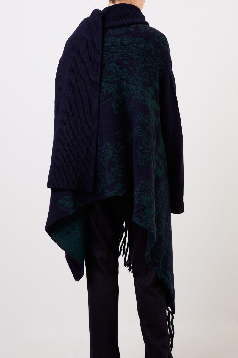 Asymmetrischer Woll-Cardigan mit Muster Navy/Grün