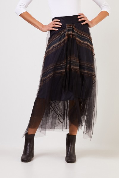Brunello Cucinelli Tulle Silk Skirt with Sequined Decoration Black/Multi