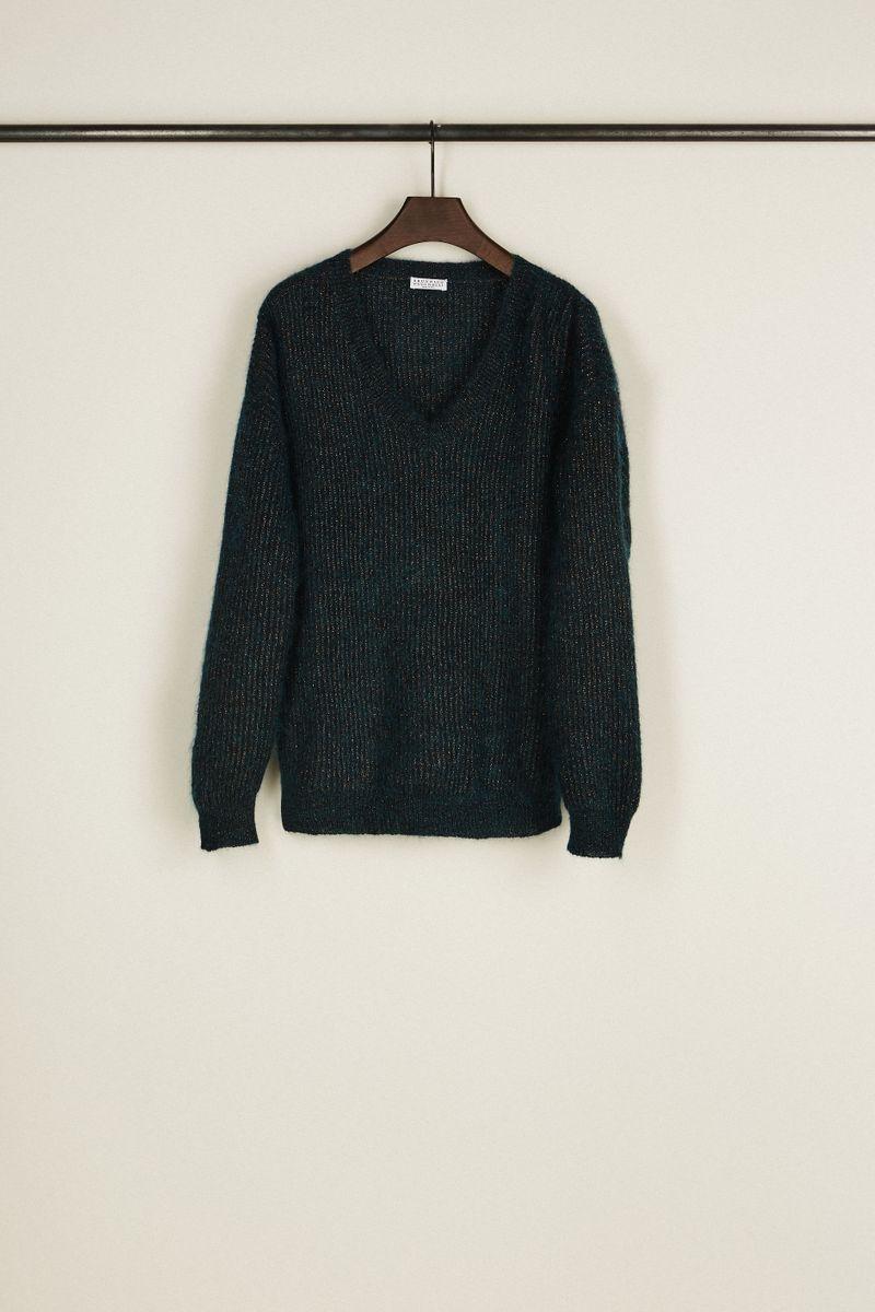 Pullover mit Metallic-Faden Petrol