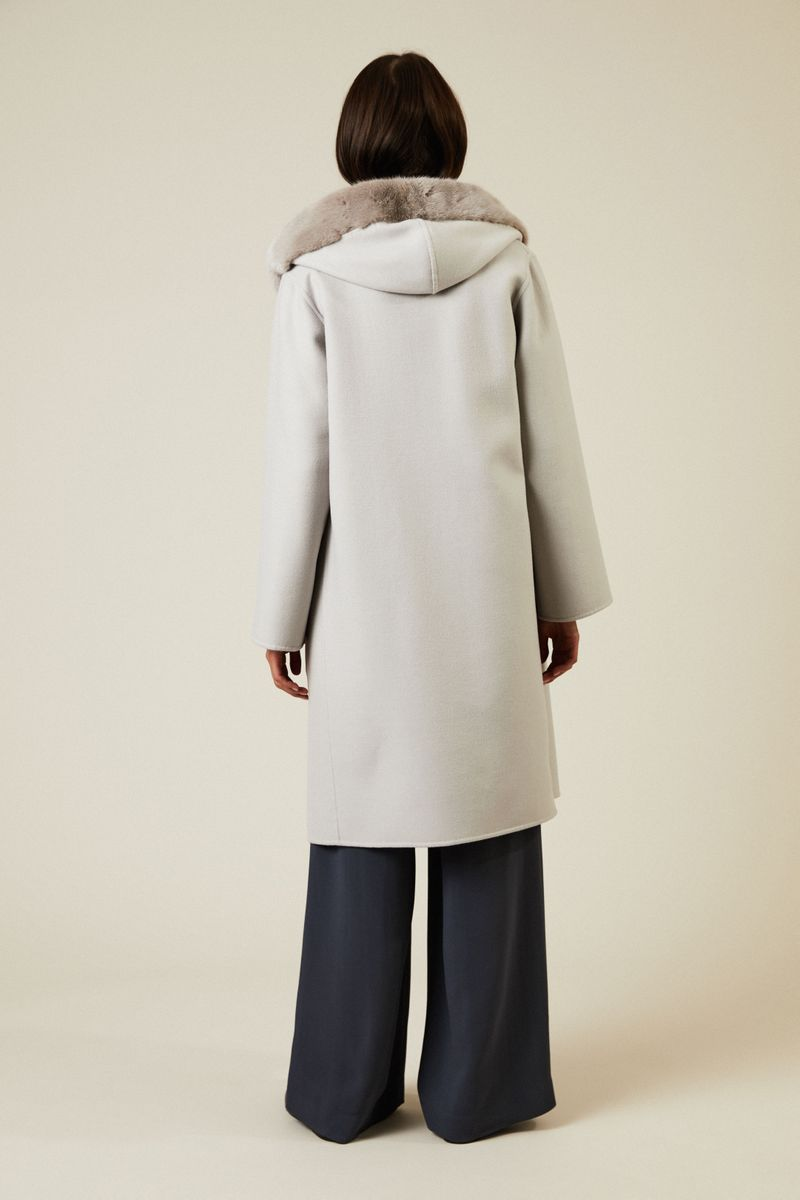Feiner Cashmere-Woll-Mantel mit Pelzdetail Taupe