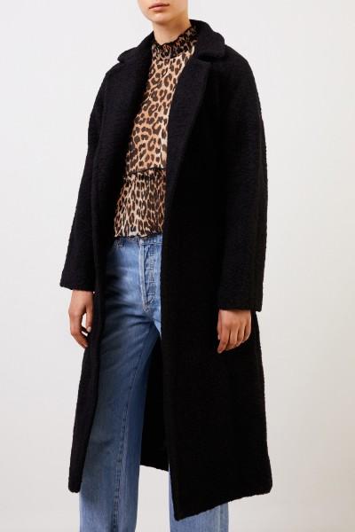 Ganni Long wrap coat made of textured bouclé wool Black