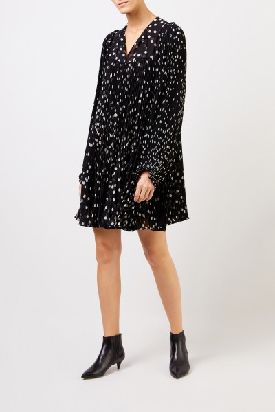 Pleated dress with dot pattern Black/White