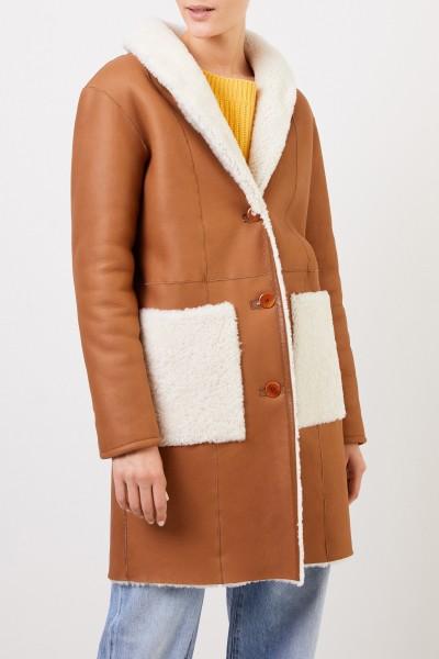 UNGER Classic Lambskin Coat Camel/White