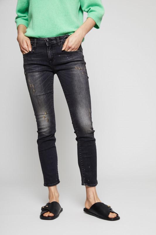 Jeans 'Kate-Skinny' im Destroyed-Look Schwarz