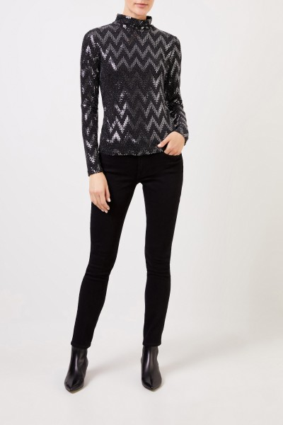 Long sleeve shirt with sequins Black/Silver