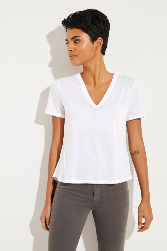 T-Shirt mit V-Neck 'Cindy' Weiß